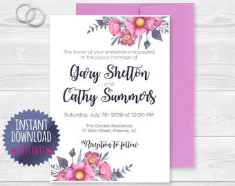 Wedding Invite Download / Wedding Invite Template / Wedding Invitation / Wedding Invite PDF / Wedding Invite / Floral Wedding Invite