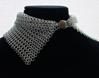 Necklace, Chainmaille Collar Choker in a Silver European Weave