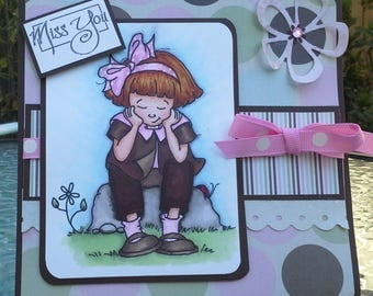 handmade card, colored with Copics, miss you card, card from her