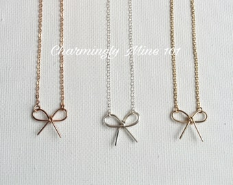 14k Gold filled bow necklace. Dainty bow necklace. Bridesmaid necklace. Wire wrap necklace