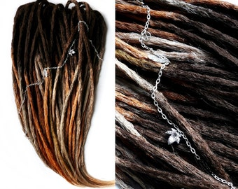 10-70 DE SYNTHETIC DREADLOCKS - Foxy Ombre / custom • red • brown • white • fox • crocheted • natural look • dreads extensions / dread-store