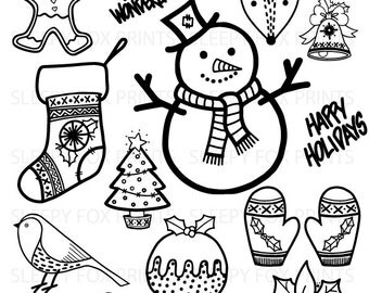 Christmas Clip Art, Clipart, Christmas, Black and White, Snowman, Christmas Tree, Reindeer, Holly, Robin, Happy Holidays, Christmas Stocking