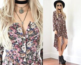 Black Floral Dress 90s Grunge Dress Floral Maxi Dress Boho Dress 90s Dress Floral Vintage 90s Clothing Vintage Floral Maxi Bohemian Dress