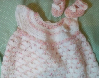 Baby girl crochet dress and shoes