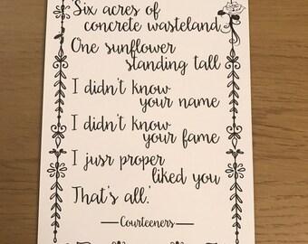 Courteeners - Sunflower Lyrics Print