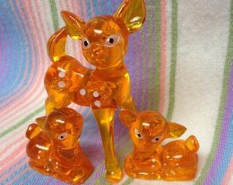 Vintage 1960's Lucite Orange Kitsch Deer Family