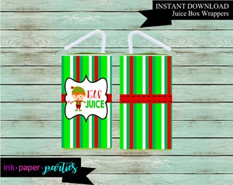 Printable Christmas Holiday Elf Juice Box Wrappers Party Favors Favor Labels Digital File Instant Download