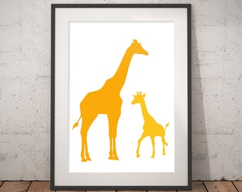 Giraffe print Yellow wall art Nursery animal safari decor Kids poster Child's Room Print Baby shower printable gift Mommy and baby print