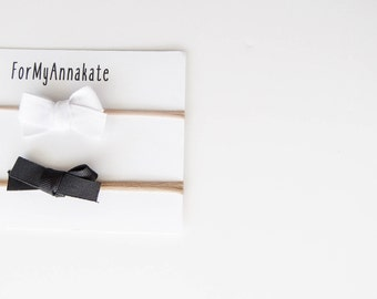 Classic baby bitty bows, white and black headbands, grosgrain hairbows