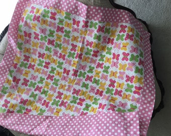 Butterfly Themed Flannel Baby Blanket, Receiving Blanket, Self Binding Baby Blanket