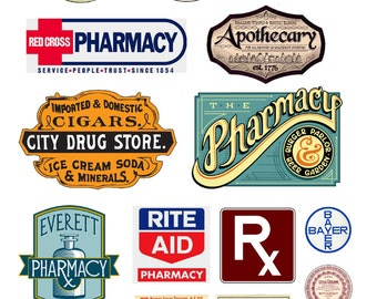 1:25 G scale model Pharmacy Signs