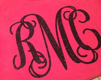 Monogrammed Comfort Color Long Sleeve shirts.