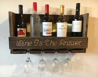 Distressed Wooden Wine Rack  Holds 6 bottles and 4 glasses