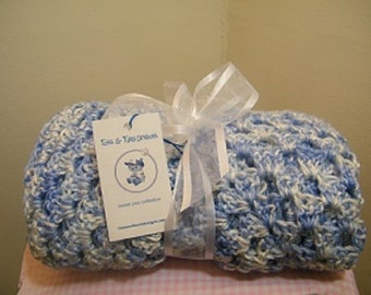 Knit/crochet blue/white multi baby blanket + FREE knit baby hat with purchase
