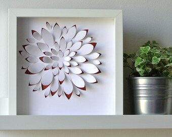 Solo GRAPTOSEDUM - table in paper cut floral, perfect inspiration for a deco graphics, modern, embossed, personalized gift