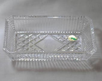 Waterford Vanity or Serving Tray with Shamrocks, stickers attached, signed, Made in Ireland