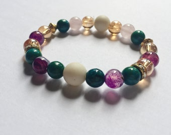 Violet Princess Mermaid Colored Gem Bracelet