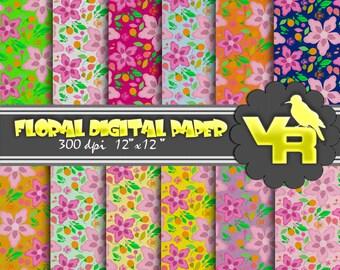 Floral digital paper pack, spring floral digital paper, floral scrapbook paper, floral patterns, small commercial use