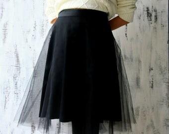 Black tulle skirt - Black tutu skirt - Midi skirt - Skirt - Black skirt - Tutu