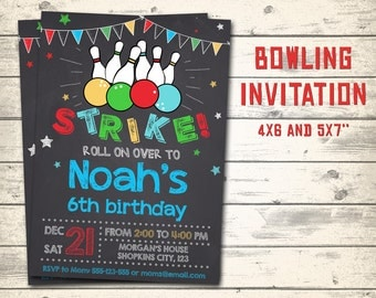 "Bowling invitation, Bowling birthday invitation, Bowling party invitation! Personalized invite, 4x6"" and 5x7"" sizes!"