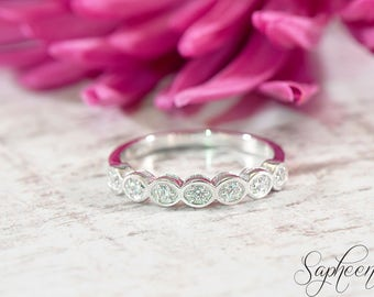 White Gold Stackable Half Art Deco Band- 14 Karat White Gold, Engagement Ring, Wedding Ring Band, Stacking Ring, Gold Band by Sapheena