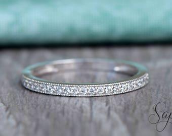 White Gold Half Eternity Milgrain Wedding Band in Solid 14k White Gold, Engagement Ring, Wedding Ring, Stacking Ring, Gold Band by Sapheena