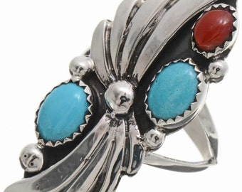 Turquoise Coral Ladies Ring Navajo Silver Sizes 5-1/2 to 10
