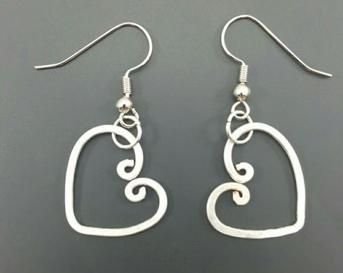 HANDMADE Sterling Silver Wire Shaped Heart Earrings