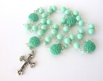 Anglican Prayer Beads - Large Handmade Wire Wrapped Mint & Turquoise Czech Glass Anglican Rosary - Protestant Prayer Beads - Christian Gift