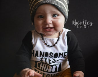 Infant T-Shirt - Handsome Eyes Chubby Thighs -Boys Baby Toddler Vinyl Graphic Tee Shirt Multiple Colors Sizes Available 0 - 3T Available