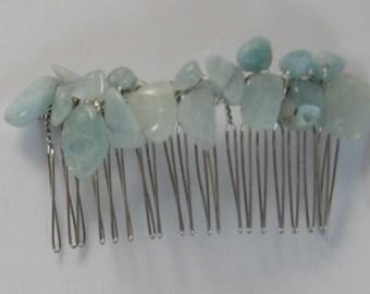 Aquamarine Crystal Hair Combs
