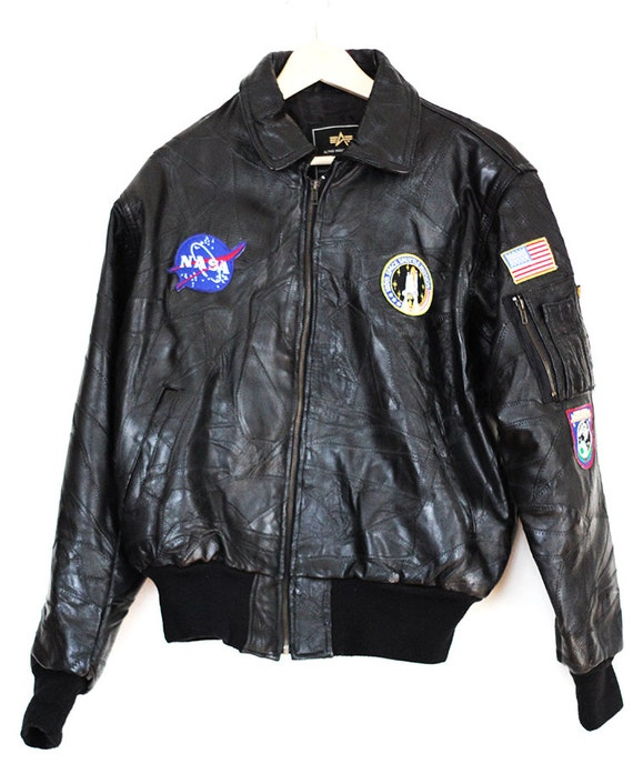 Nasa Black Alpha Patchwork Leather Nasa 100th Mission Bomber