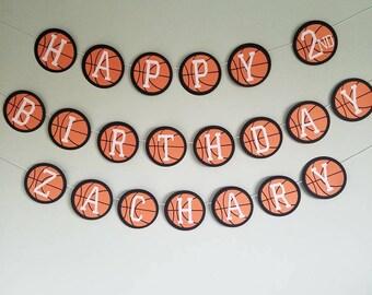 Basketball happy birthday banner; basketball themed birthday decorations