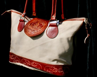 Embossed Two-Toned Purse - Genuine Leather - Handmade Bag