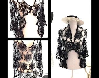 Black crochet lace scarf, shawl, cape, bolero,wrap