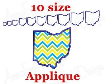 Ohio State Applique Embroidery Design. State Applique Embroidery Design. Ohio mini. Machine Embroidery. USA State. Ohio Applique Design.