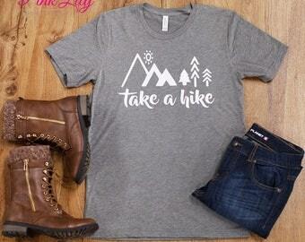 Take A Hike Vinyl Women's Tee..Hiking Tee..Nature Lovers Tee..Earth Day Tee