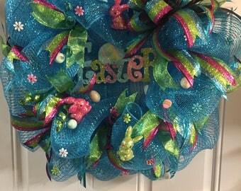 Whimsical Easter Wreath, Easter Wreath, Easter Bunnies Wreath