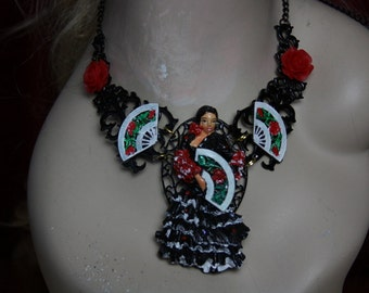 Set Of Flamenco Dancer Hand Painted Stunning Necklace+ Earrings