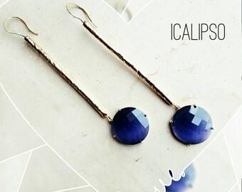 Gold line earrings, tiny bar earrings, dainty earrings, modern jewelry, minimal earrings, minimalist earrings, blue earrings, gift for girl