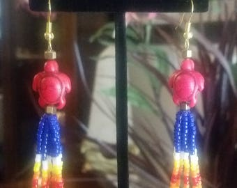 Native Style Loop Beaded Earring with Red Turtle and Flame Effect Beads