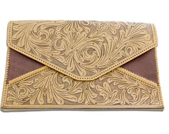 Hand Tooled Extra Large Clutch and Shoulder Bag
