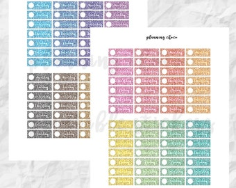 Glitter Dater Covers / ECLP / colorful basic functional  printable planner stickers, pdf, jpg