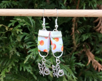 liberty fabric with charm earrings