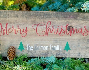 Merry Christmas Wood Sign, Christmas Decor, Personalized Christmas Sign, Holiday Decor