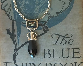 Vintage Black Glass, Hematite and Sterling Silver necklace Decco style faceted vintage glass