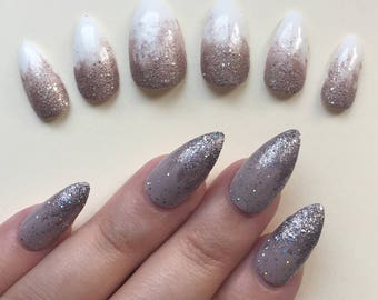A set of hand painted false nails. Full cover. STILETTO. Ombre White or Nude Sparkle. NEW UK