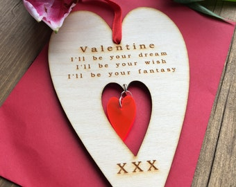 Valentines For Her, Valentines for Him, Heart Valentines Card, Valentines Keepsake, Wooden Valentines, Love You Card, Funny Valentines