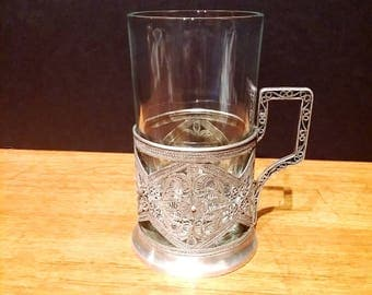 Vintage Russian Tea Glass Silver Filigree Sleeve Holder with Removable Glass