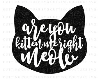 Cat Svg Cutting File Are You Kitten Me Svg Meow Svg Cutting File Silhouette Cutting File Cricut Cutting File SVG DXF PNG Files Included